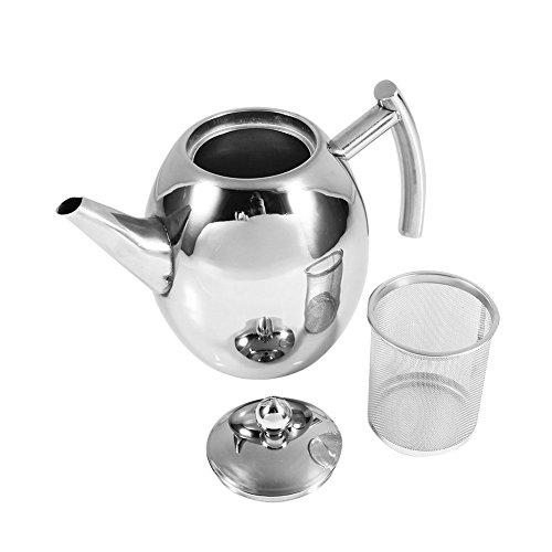 Tetera con filtro de acero inoxidable pulido, tetera de 1,5 l, tetera de acero inoxidable plateado, tapa de café con colador, apto para lavavajillas, para cocina, café, hotel, restaurante y oficina