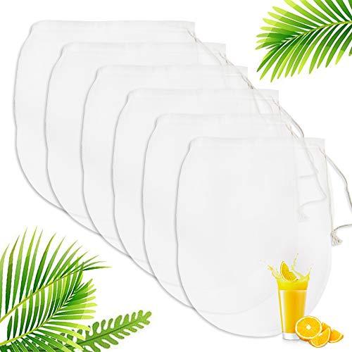 Nussmilchbeutel, Passiertuch Filterbeutel 6er Pack käsetuch, Für die Produktion mandelmilch, hafermilch, selleriesaft Saft, Kaffee, Tee, Sojamilch und andere Getränke, Filtertuch für Obstsaft