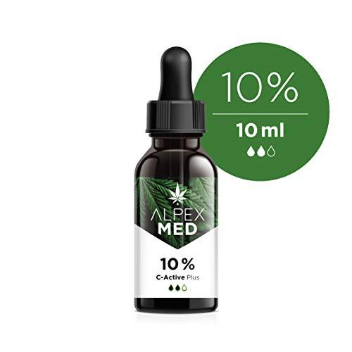 ALPEX-MED 10% 10ml C-ACTIVE – 10 ml Tropfen mit Hanfsamenöl, Natur-Öl mit natürlichen Zutaten, reich an Fettsäuren, Vitaminen und Mineralien, 100% vegan & frei von Zusätzen