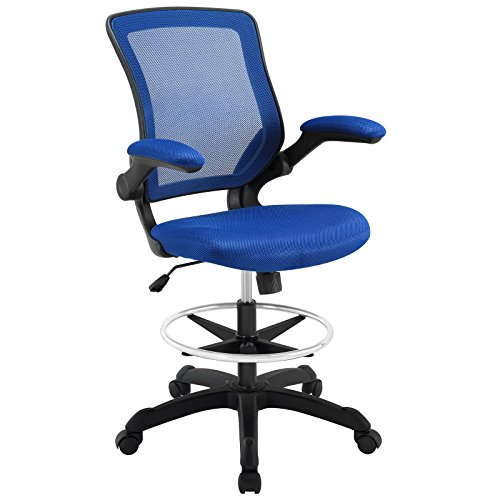 Modway Veer Drafting Chair - Reception Desk Chair - Flip-Up Arm Drafting Chair in Blue