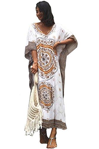 Ho Mall Damen Sommer Elegant Strand Poncho Ethnisch Drucken Lose Kaftan Kittel Sommer Maxi Kleid (Muster 3, Einheitsgröße)