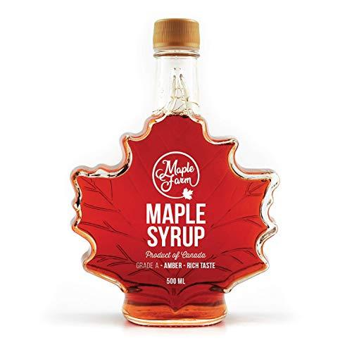 MapleFarm - Pur Sirop d'érable Catégorie A, Ambré - goût riche. 500 ml (661g). Bouteille de feuilles érable - Original maple syrup Grade A (Amber, Rich taste)