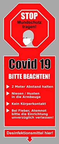 Pegatinas Stop Covid 19 Plus, color rojo, incluye máscara de protección e instrucciones de higiene