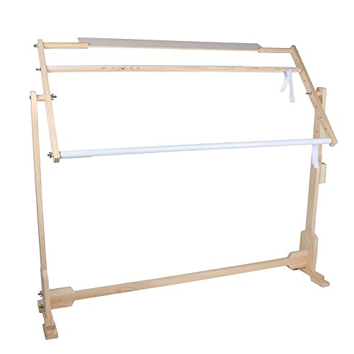 Zerone Hand Quilting Frame, Adjustable Cross Stitch Frame Floor Stand Wooden Embroidery Tapestry Hoops for Needlework Craft