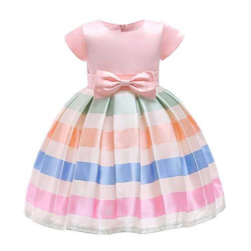 YiWu Bowknot Prinzessin Kleid Satin Flower Puff Rock Mädchen Hochzeit Kostüm Piano Performance Kleidung 3-9 Jahre (Color : Pink, Size : 8-9Years)