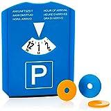com-four® 1x Parkscheibe mit Eiskratzer, Gummilippe und Einkaufswagenchips - Parkuhr aus Kunststoff (01 Stück - Parkscheibe mit Chip)