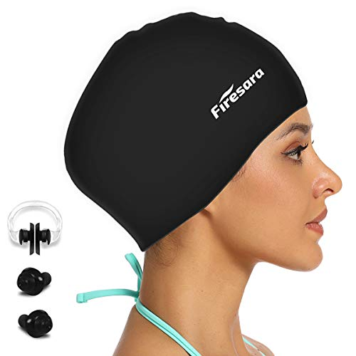 Firesara Long Hair Swimming Cap,Swim Cap for Men Women Special Desgin Shower Cap Waterproof Silicone Swim Cap for Long Thick or Curly Hair
