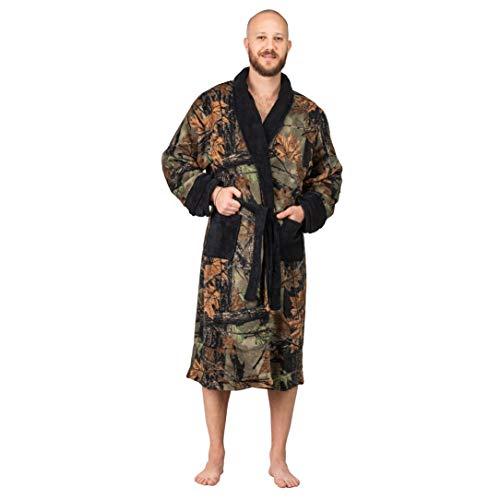 TrailCrest Coral Fleece Camo Lounge Robe, Black, 2X