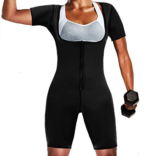 Womens Sauna Suit for Weight Loss Full Body Shapewear Bodysuit Sweat Neoprene Slimming Workout Shaper with Sleeves