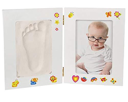 Ossian DIY Baby fotolijst Set – Mooie Decoratieve Memory Keepsake Opvouwbare foto en gips Cast Clay Mould en kleurrijke Stickers voor kinderen handvoeten geboorte Memento