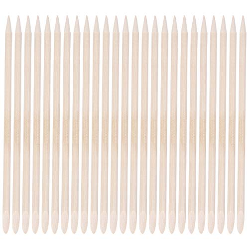 Lurrose 50 Unids Naranja Palos de Madera Cuticle Pusher Removedor de Piel Muerta Nail Art Manicure Pedicure Sticks de Limpieza
