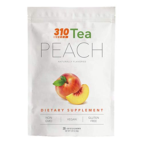310 Nutrition, 310 Tea Slimming Detox Organic Gree Tea with Yerba Mate, Guarana, and More Natural Ingredients, Comes with Free eBook (Peach, 28 Servings)