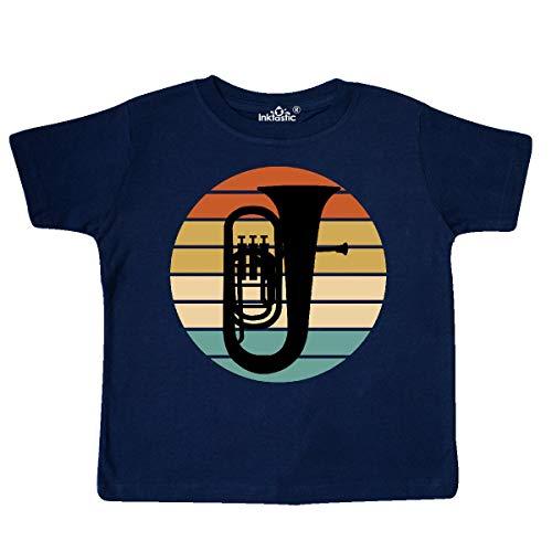 inktastic Tuba Music Retro Sunset Silhouette Toddler T-Shirt 4T Navy Blue