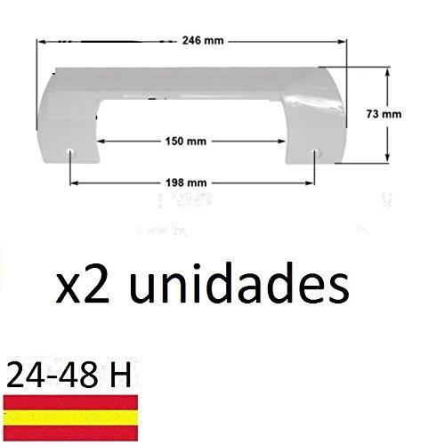 REMLE Dos Unidades Tirador MANETA Puerta FRIGORIFICO Kit BALAY Bosch Lynx 490705 Combi CONGELADOR Blanco. Tamaño 24,5 cm, Entre Agujeros 19,5 cm