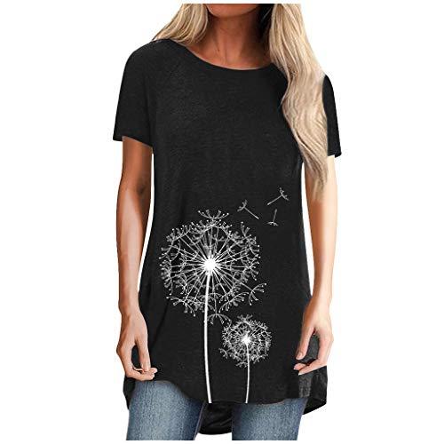 N-B Camisetas Mujer Verano Manga Corta S- 5XL Elegantes Largo Dibujos de Diente de León 2021 Nuevo Moda Originales Tallas Grande Tops Ropa Casual Camisas y Blusas