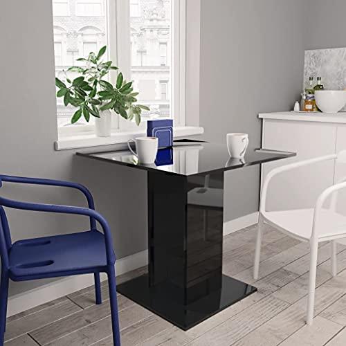 FAMIROSA Mesa de Comedor de aglomerado Negro Brillante 80x80x75 cm