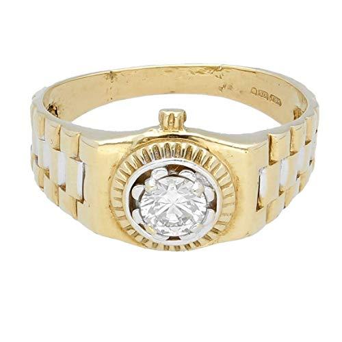 Heren Ring Band   9Carat Geel Goud Gesimuleerd Diamant Horloge Stijl Signet Ring (Maat U)11mm breedste   Een van een soort sieraden