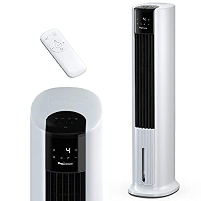 "Pro Breeze 7L Evaporative Air Cooler & 42"" Portable Tower Fan, 3 Fan Speeds, Remote Control, Automatic Oscillation, 10 Hour Timer and Sleep, Natural and Humidification Mode for Home and Office"