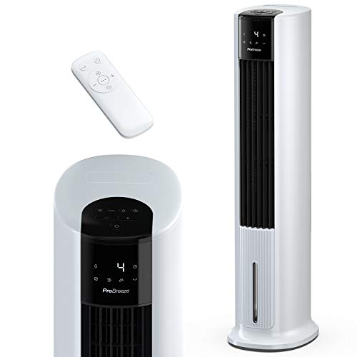 Pro Breeze 7L Enfriador Evaporativo y Ventilador Torre Portátil de 105 cm. Con 3 Velocidades del Ventilador, Control Remoto y Oscilación Automática