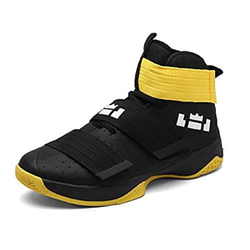 XIGUAFR Chaussure de Basketball Homme Montante Respirant Chaussure de Sport Outdoor Antichoc Résistant à l'usure Noir Jaune 44