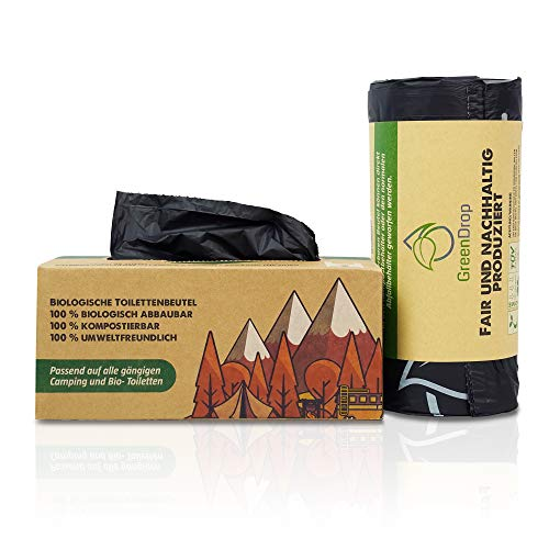 Green Drop Camping Toilettenbeutel Bio 40 Stück Limited Edition für Campingtoiletten, Biotoiletten und Mobiltoiletten