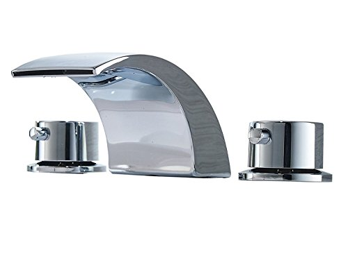 Greenspring Deck Mount Double Handles Led Waterfall Contemporary Widespread Commercial Bathroom Sink Faucet Chrome Finish