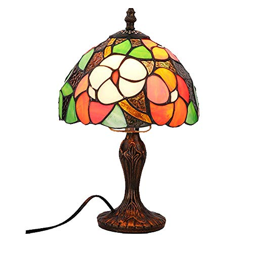 Henley Art Deco – Lampara de mesa creativa Tiffany, pintura de cristal, salon, comedor, dormitorio, lampara de mesita de noche, bar, romantica, vintage, lampara de mesa barroca de 8 pulgadas