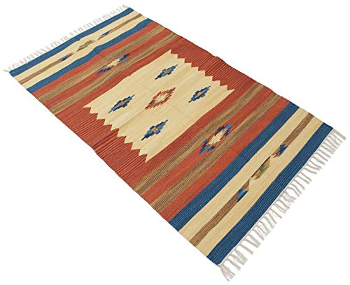 150x90 CM Original, Autentic Kilim fait main Coton Indian #GalleriaFarah1970