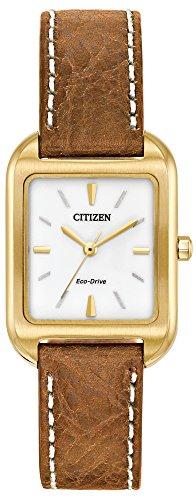 Citizen Damen Analog Solar Uhr mit Leder Armband EM0492-02A