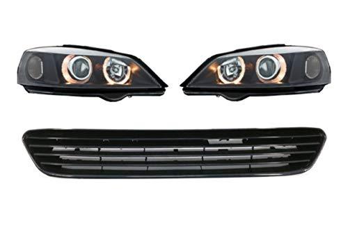 KITT COSWO01DBGO01 Faros delanteros para Opel Halo Llantas Lámparas Negro con rejilla frontal sin insignia 1998-2004