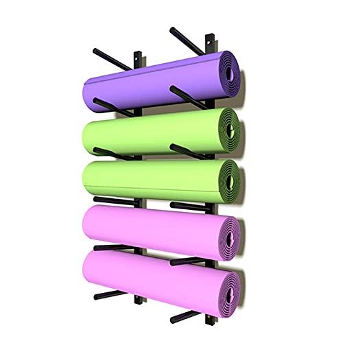 Estante de Almacenamiento de Colchoneta de Yoga para Montaje en Pared - 6 Capas Soporte de Rodillo de Espuma con Ganchos, Ahorra Espacio para Casa Gimnasio (Color : Black)