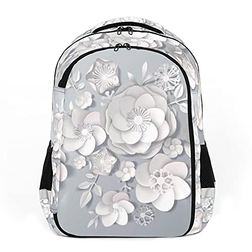 Erwachsene Reiserucksack Schulrucksäcke Rucksäcke Geeignet für alle Altersgruppen Kinderrucksäcke Realistische Weiße Papierblumen - Art Plant
