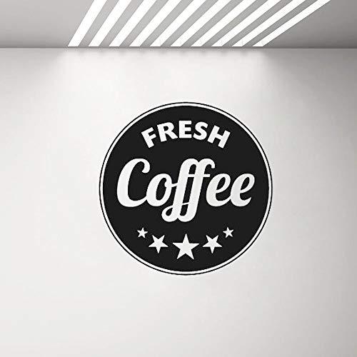 yaonuli Cafe Shop Poster Wand Fenster Aufkleber frisch Kaffee Kreis Wandaufkleber abnehmbar selbstklebend Kunst Aufkleber Dekoration 75x75cm