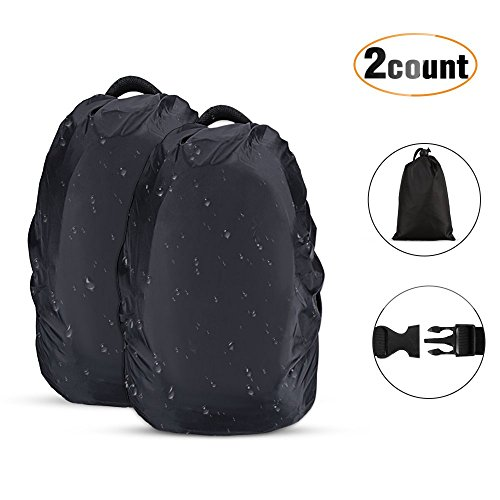 AGPTEK 2-Pack Nylon Waterproof Backpack Rain Cover for Hiking/Camping/Traveling/Outdoor Activities, Black,Size M:26-40L