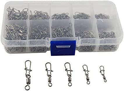 Stainless Steel Fishing Swivel Connector 210 pcs//Box Snap Ball Bearing Lock Kit