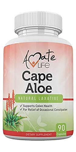 Cape Aloe Natural Laxative Supplement- Constipation Relief- Regulate Bowel - All-Natural Herbal Detox- Weight Loss Supplement- Digestion Help Dietary Supplement- 90 Caps- Non-GMO by Amate Life