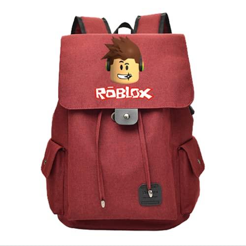 HOBEKOK Zaino Camping Lavoro Backpack Porta Ricarica USB Impermeabile Tessuto Oxford 20 a 35L Coulisse Regolabile Esterno,Red-C