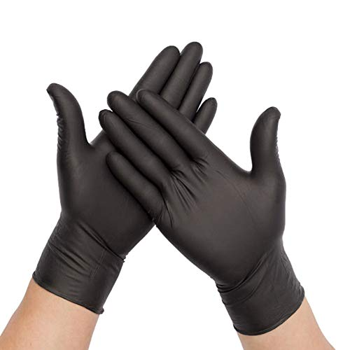 100PCS Disposable Nitrile Vinyl Gloves, Latex Free, Powder Free, Non-Sterile, Healthcare, Food Handling Use (Large, Black)