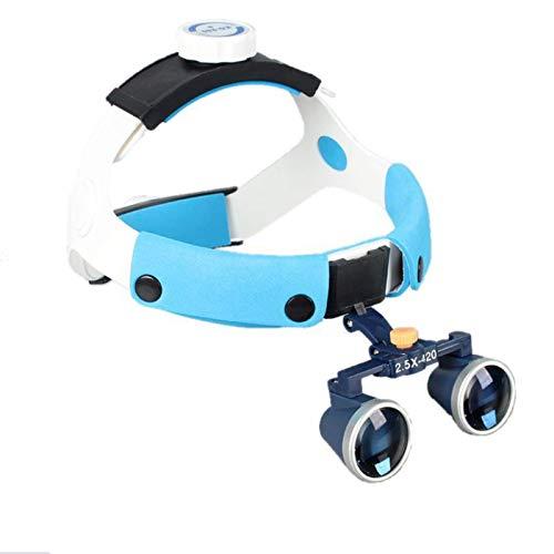 Lupas Binoculares Dental O Quirúrgico 2.5X Médica De Vidrio Óptico De Cabeza Lentes binoculares de Aumento para Dentista, Otorrinolaringólogo, Oftalmología