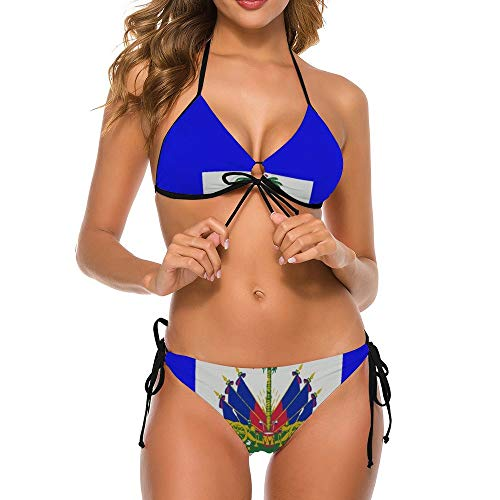 NiYoung Women's Two Piece Halter Top Triangle Bottom Bikini Set, Haitian Flag, Sexy Swimsuit Bathing Suits Perfect for Summer Holiday Beach, M