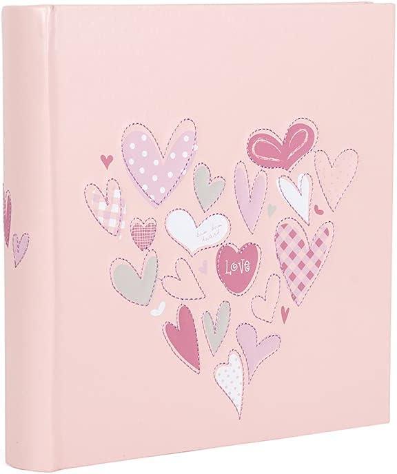 Hofmann | Álbum de fotos rosa | Estampado de corazón con páginas en blanco | Capacidad 200 fotos | Fotos 11,4 x 15,2 cm