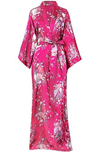 BABEYOND Kimono de Seda Vestido de Satén Kimono Pavo Real Novia Pijamas...