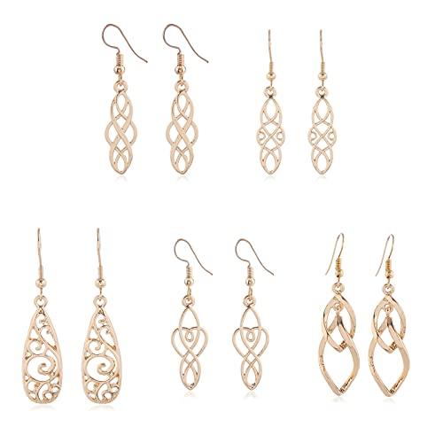 5 Pairs Twist Wave Filigree Teardrop Dangle Earrings Celtic Knot Dangle Earrings Twist Wave Drop Dangle Earrings Vintage Tassel Linear Loops Design Twist Wave Hook Dangle Earrings-Gold