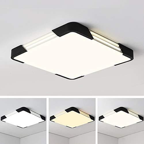 Led-plafondlamp, 72 W, modern, ultradun, afstandsbediening, dimbaar, creatief, vierkant, plafondlamp, licht binnen, plafondlamp, slaapkamer, woonkamer, keuken, L45 × B45 × H6 cm, wit + zwart