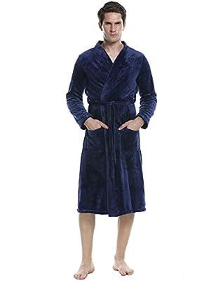 Ouyilu Men Long Sleeve Fleece Night Robe Shawl Collar Belt Closure Terry Turkish Bathrobe Sleepwear