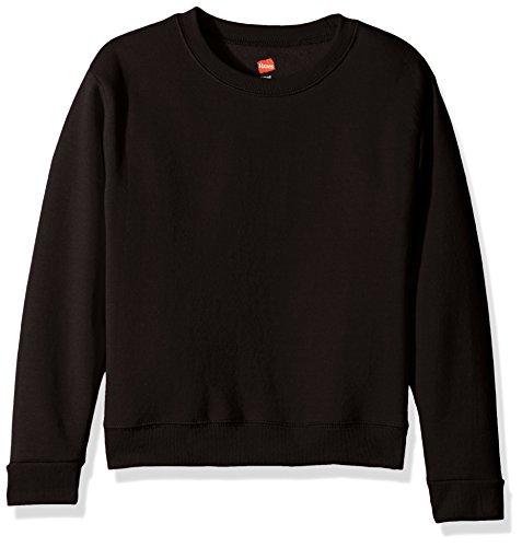 Hanes Girls' Big Girls' Comfortsoft Ecosmart Fleece Sweatshirt, Black, L