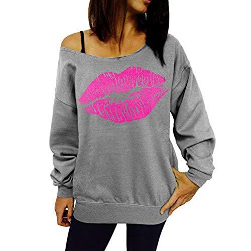 BOLAWOO-77 Tops Mode Femme Elégante Bustier Épaule Manches Longues Loose Mode Chic Sweat Lèvres Imprimé Femme Hauts (Color : Gris, Size : M)