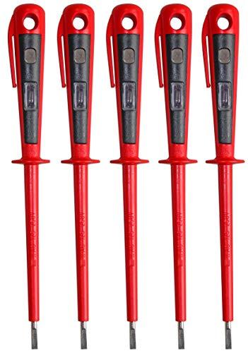 H+H Werkzeug 45900 5 x 45900 Europrüfer/Spannungsprüfer/Phasenprüfer bis 250V GS geprüft nach VDE 0680 Made in Germany, rot/schwarz, 190 mm