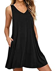 CNFIO sommarklänning dam ärmlös klänning för kvinnor polka prickig tank klänning böhmiska kläder mini