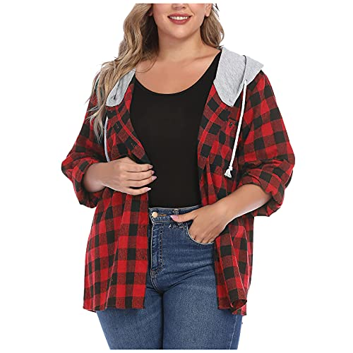 Berimaterry Cárdigans mujer con botones moda blusa manga larga elegante otoño camisetas holgado camisas mujer Chaqueta soft shell ropa casual Rebecas sudadera con capucha de Cuadros Escoceses